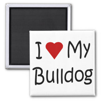 I Love My Bulldog Dog Lover Gifts and Apparel 2 Inch Square Magnet