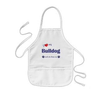 I Love My Bulldog (Female Dog) Kids' Apron