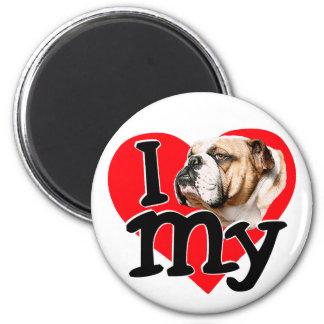 I Love my Bulldog Fridge Magnet
