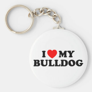 I Love my Bulldog Keychain