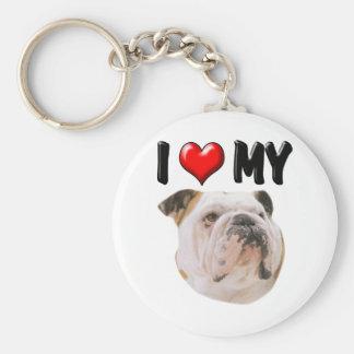 I Love My Bulldog Keychain