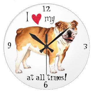 I Love my Bulldog Large Clock