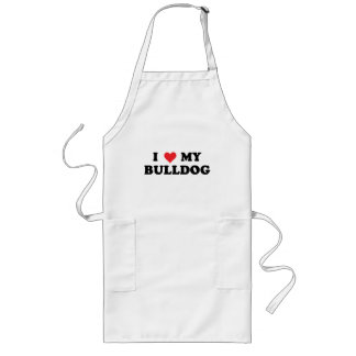 I Love My Bulldog Long Apron
