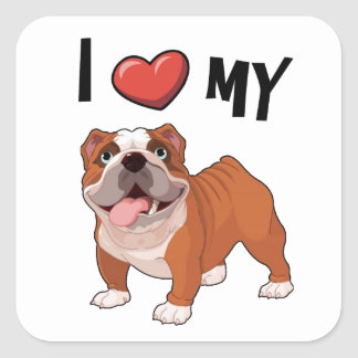 I love my Bulldog Square Sticker