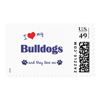 I Love My Bulldogs (Multiple Dogs) Postage