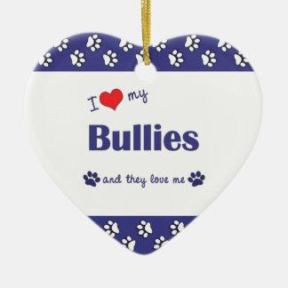 I Love My Bullies (Multiple Dogs) Ceramic Ornament