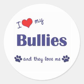 I Love My Bullies (Multiple Dogs) Classic Round Sticker