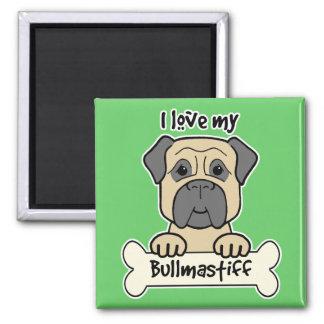 I Love My Bullmastiff 2 Inch Square Magnet