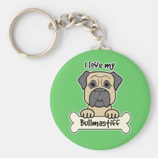 I Love My Bullmastiff Basic Round Button Keychain