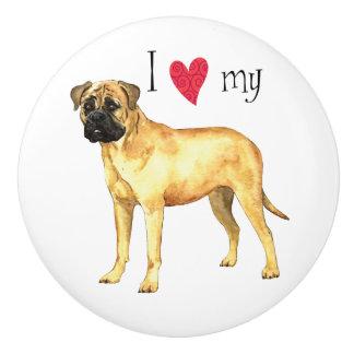 I Love my Bullmastiff Ceramic Knob