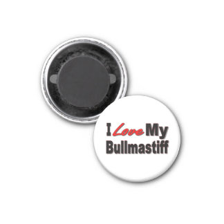 I Love My Bullmastiff Dog Merchandise 1 Inch Round Magnet