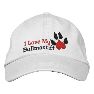 I Love My Bullmastiff Dog Paw Print Embroidered Hat