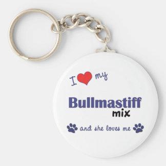 I Love My Bullmastiff Mix (Female Dog) Basic Round Button Keychain