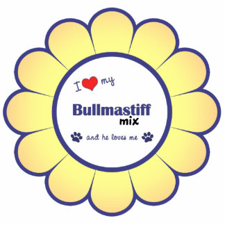 I Love My Bullmastiff Mix (Male Dog) Cutout