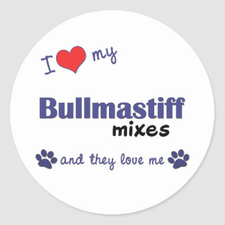 I Love My Bullmastiff Mixes (Multiple Dogs) Classic Round Sticker