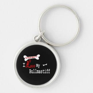 I Love My Bullmastiff Silver-Colored Round Keychain