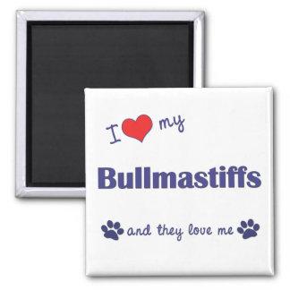I Love My Bullmastiffs (Multiple Dogs) 2 Inch Square Magnet