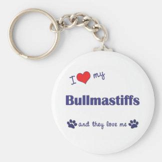 I Love My Bullmastiffs (Multiple Dogs) Basic Round Button Keychain