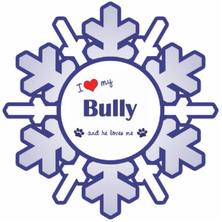 I Love My Bully (Male Dog) Photo Sculpture Ornament