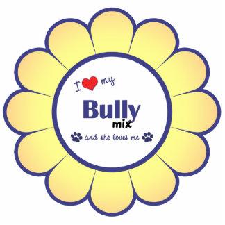 I Love My Bully Mix (Female Dog) Photo Sculpture Ornament
