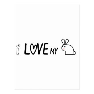 I love my bunny postcard
