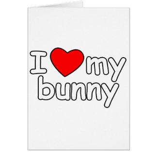 I Love My Bunny Rabbit heart bunnie pet valentines Card