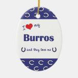 I Love My Burros (Multiple Burros) Christmas Tree Ornament