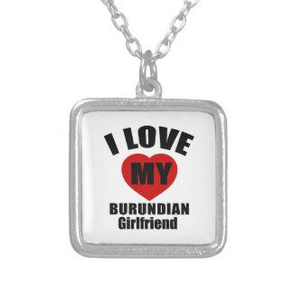 I LOVE MY BURUNDIAN GIRLFRIEND SQUARE PENDANT NECKLACE