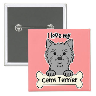 I Love My Cairn Terrier Pinback Button