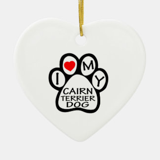 I Love My Cairn Terrier Dog Double-Sided Heart Ceramic Christmas Ornament