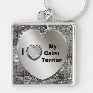 I Love My Cairn Terrier Heart Keychain