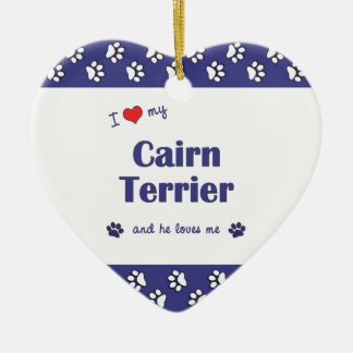 I Love My Cairn Terrier (Male Dog) Double-Sided Heart Ceramic Christmas Ornament
