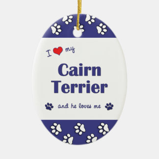 I Love My Cairn Terrier (Male Dog) Double-Sided Oval Ceramic Christmas Ornament