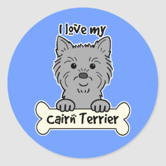 I Love My Cairn Terrier Round Stickers