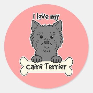 I Love My Cairn Terrier Round Sticker