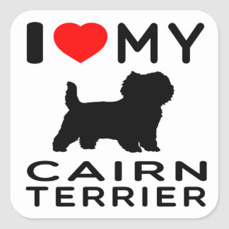 I Love My Cairn terrier Square Sticker