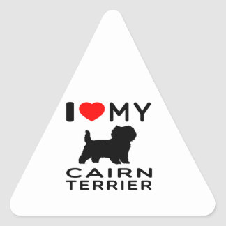 I Love My Cairn terrier Triangle Sticker