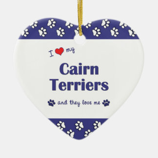 I Love My Cairn Terriers (Multiple Dogs) Double-Sided Heart Ceramic Christmas Ornament
