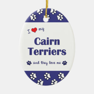 I Love My Cairn Terriers (Multiple Dogs) Double-Sided Oval Ceramic Christmas Ornament