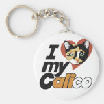 I Love my CALICO cat Keychains