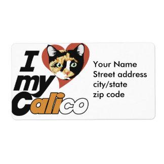 I Love my CALICO cat Label