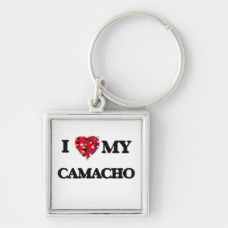 I Love MY Camacho Silver-Colored Square Keychain