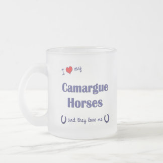I Love My Camargue Horses (Multiple Horses) Frosted Glass Coffee Mug