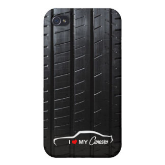I love my Camaro with tire tread iPhone 4 Cover