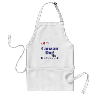 I Love My Canaan Dog Mix (Male Dog) Aprons