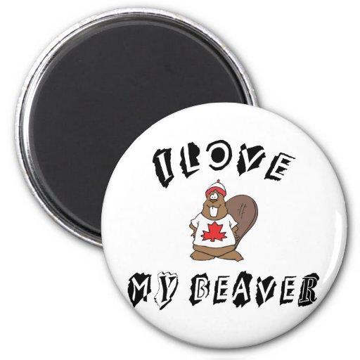 I Love My Canadian Beaver Fridge Magnets