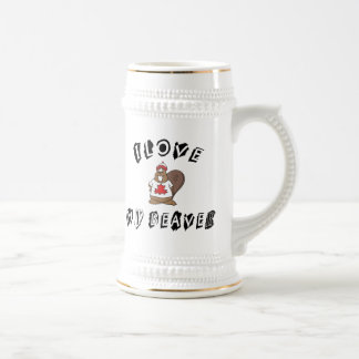 I Love My Canadian Beaver Gift Beer Stein