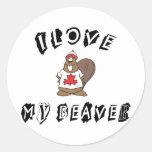I Love My Canadian Beaver Round Sticker