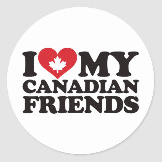 I Love My Canadian Friends Classic Round Sticker