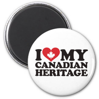 I Love My Canadian Heritage 2 Inch Round Magnet